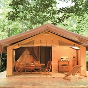 Glampingunterkunft - Zelt Toile & Bois Sweet für 5 Pers. auf Camping Huttopia Les Chateaux