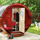 Luxuscamping: Glampingfass am Waldcamping Brombach