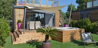 Luxuscamping - Terrasse - Cap D'agde - Luxus Cottages auf Camping Naturiste Centre Hélio Marin Rene Oltra