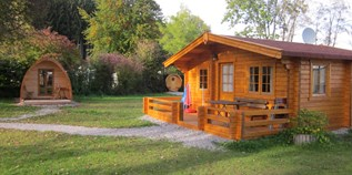 Luxuscamping - Restaurant - Oberbayern - Blockhütte auf Camping Via Claudia