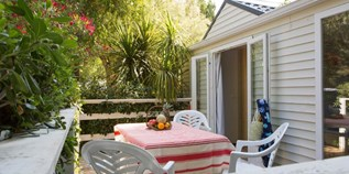 Luxuscamping - Swimmingpool - Hérault - Cottage Languedoc für 4-6 Personen am Camping Le Sérignan Plage